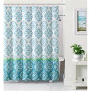 Luxury Home Ashur Embossed Microfiber Shower Curtain, Blue & White - 72 x 72 inch