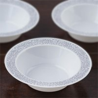 BalsaCircle 10 pcs Disposable Plastic Round Bowls with Trim for Wedding Reception Party Buffet Catering Tableware