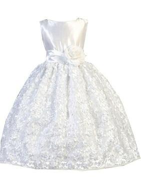 2272dcfe226 Product Image Little Girls White Satin Floral Mesh Lace Flower Girl Dress 2- 6