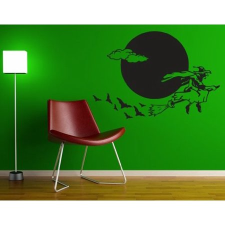 Halloween Flying Witch Wall Decal - Wall Sticker, Vinyl Wall Art, Home Decor, Wall Mural - 2267 - 47in x 33in, Violet - Halloween Home Decor Walmart