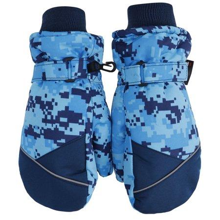 Simplicity Boys   Grils 3M Thinsulate Waterproof Camouflage Ski Winter Mitten Gloves  M Blue Camo