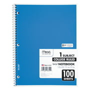 """Mead Spiral Bound Notebook, Perforated, College Rule, 11"""" x 8"""", White, 100 Sheets, Assorted"""