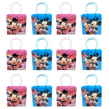 Mickey Mouse & Minnie 12 Authentic Licensed Party Favor Reusable Medium Goodie Gift Bags - Mickey Mouse Centerpieces Ideas