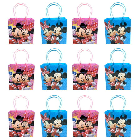 Minnie Mouse Ears Party Favors (Mickey Mouse & Minnie 12 Authentic Licensed Party Favor Reusable Medium Goodie Gift Bags)