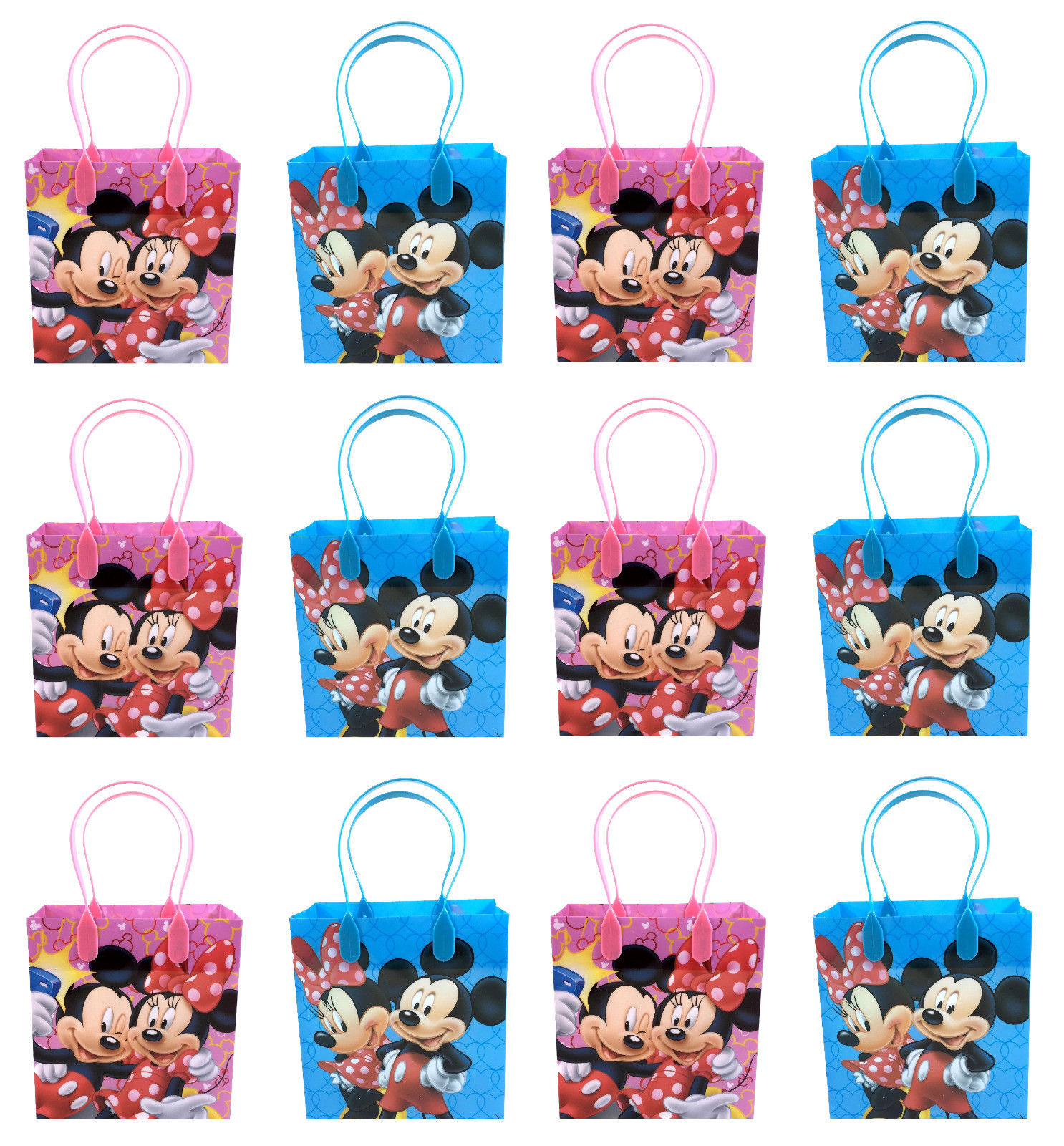 Mickey Mouse & Minnie 12 Authentic Licensed Party Favor Reusable Medium Goodie Gift Bags 6""