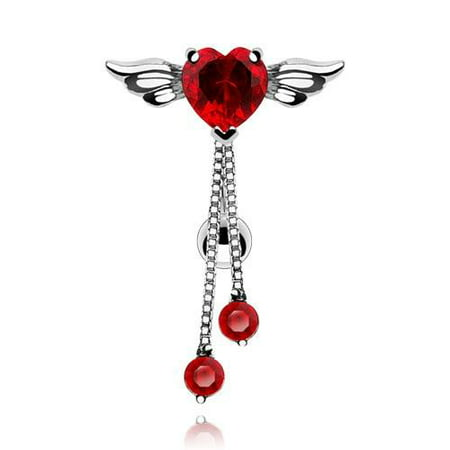 Belly Button Ring Reversed Angel Winged Heart Navel  Round CZ Dangle 14 (Dangling Round Navel Ring)