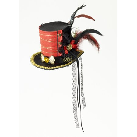 Black Red Feathered Mini Carnival Circus Twisted Attraction Top Hat