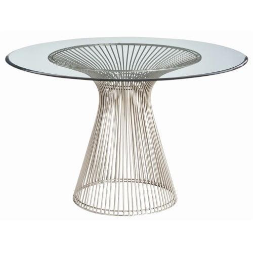 Arteriors 6556 Nova 47 Inch Diameter Glass Top Iron Accent Table by Arteriors