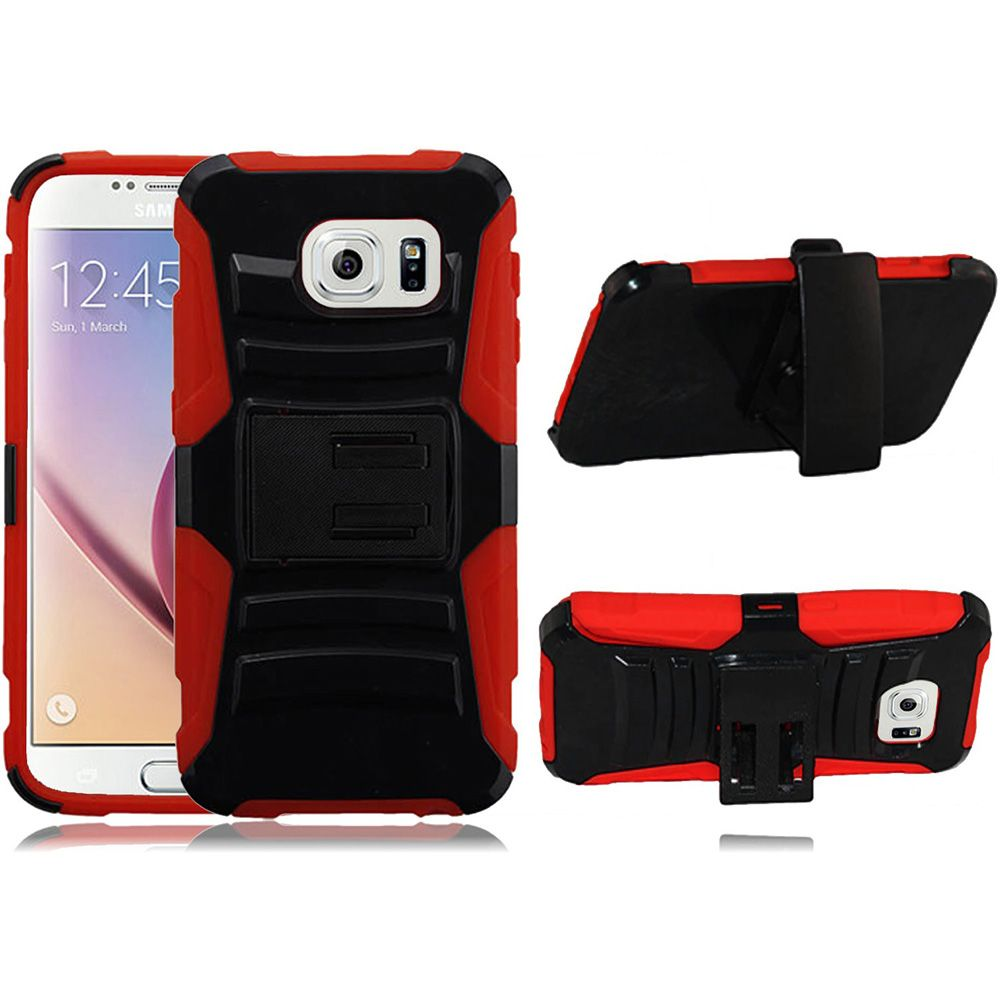 For Samsung S6 Case - Hybrid Phone Cover Side Kickstand With Holster Clip - Black+Red