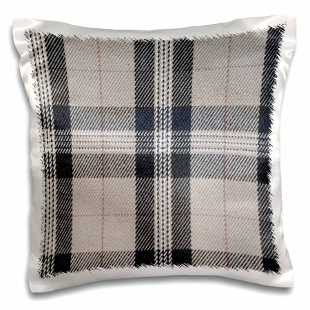 3dRose Gray tartan pattern - contemporary modern preppy plaid grey and black - fashionable checkered checks - Pillow Case, 16 by -