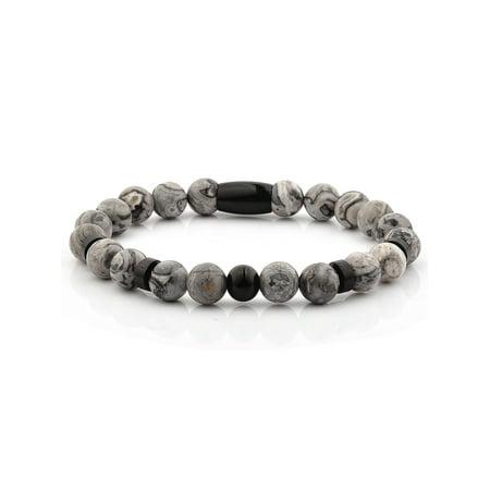 - Jasper Stone Black Plated Stainless Steel Beaded Bracelet (8mm)