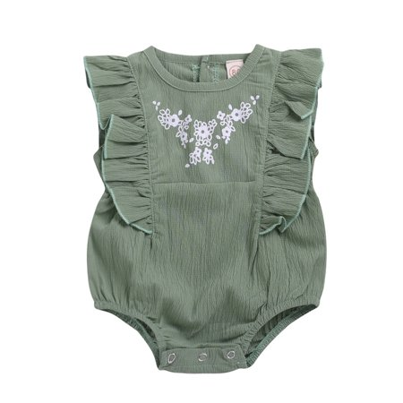 Summer Newborn Baby Girls Embroideried Ruffled Floral Romper Bodysuit](Blanket Embroidery)