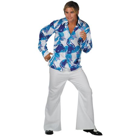 Plus Size 70s Fever Costume - Blue-White - Plus Size 70s Costumes
