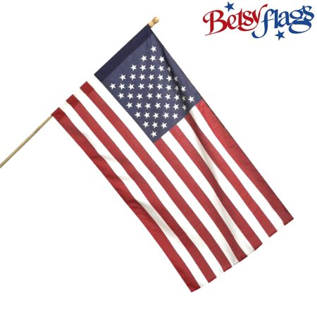 Betsy Flags, American Flag, Poly-Cotton, 2.5'x4', Printed, Sleeved US Flag, Products by Valley Forge Flag ()