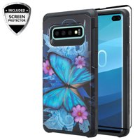 Samsung Galaxy S10 Plus/S10+ Case Silicone Shock Proof Dual Layer Hard w/[TPU Screen Protector] Phone Case Cover for Galaxy S10+/S10 Plus - Blue Butterfly