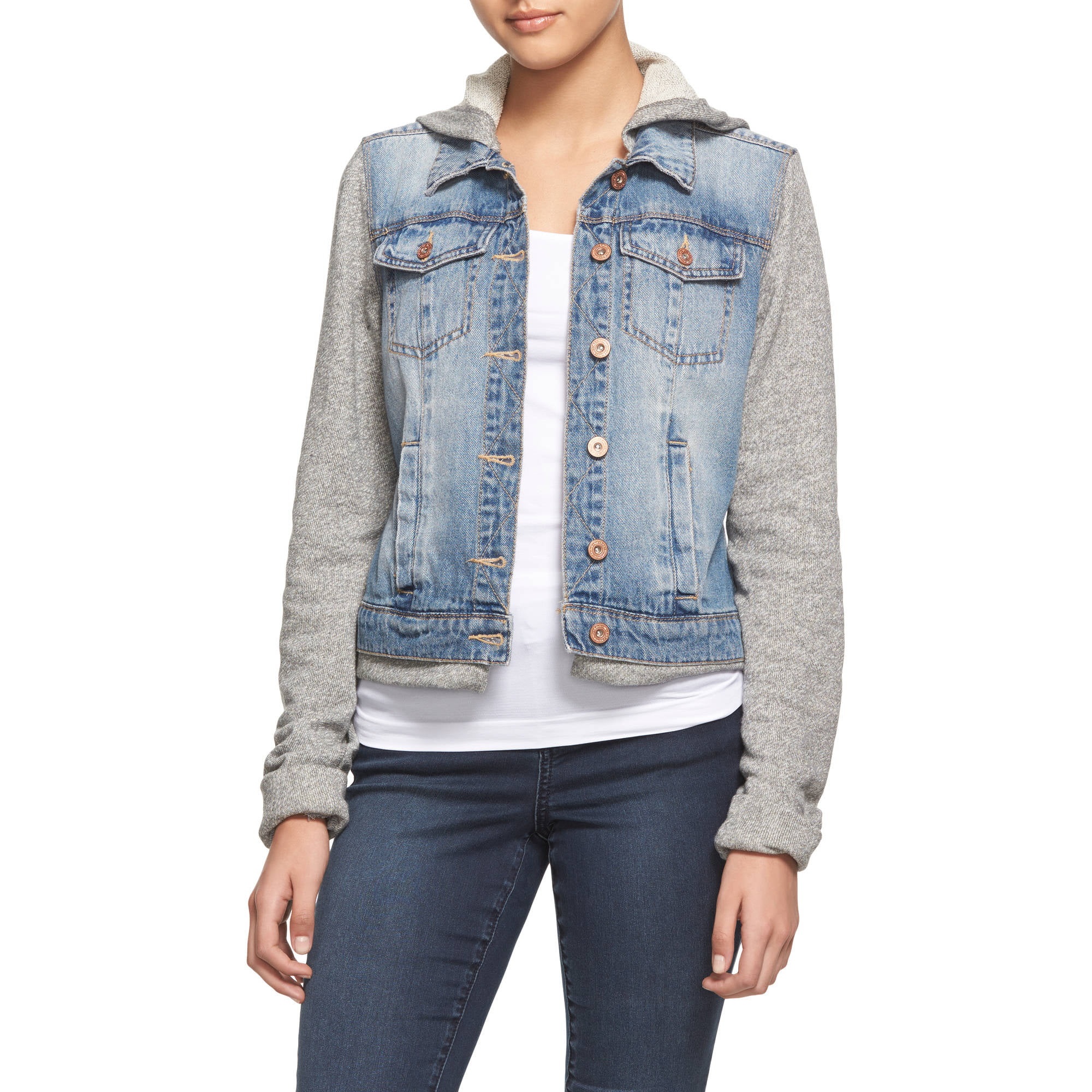 L.E.I. Juniors Jean Jacket with French Terry Sleeves and Hood ...