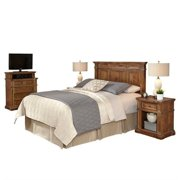 Home Styles Americana Vintage King/California King Headboard, 2 Night Stands and Media Chest