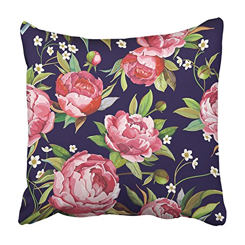 USART Floral Beautiful with Pink Peonies Flowers Bouquet Peony Traditional Vintage Pillowcase Cushion Cover 20x20 inch