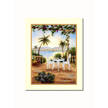 Mediterranean Scene White Chair Wall Picture 8x10 Art Print