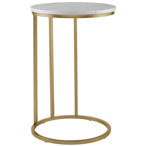 16 inch Round Coffee Table with White Faux Marble and Gold Base