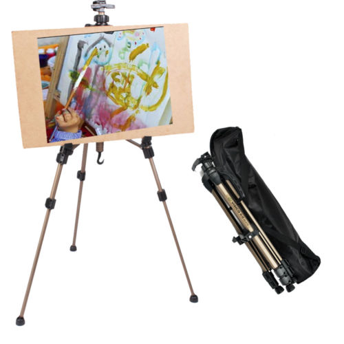 Zimtown Adjustable Folding Tripod Drawing Painting Easel Artist Telescopic Field Display Stand Whiteboard Holder for Wedding Exhibition Studio Floor