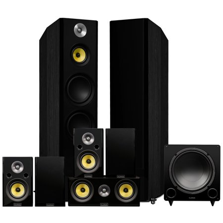 Fluance Signature Series Surround Sound Home Theater 7.1 Channel Speaker System including Three-way Floorstanding, Center, Surrounds & Rear Surrounds, and DB12 Subwoofer - Black Ash (Best 7.1 Surround Sound Speaker System)