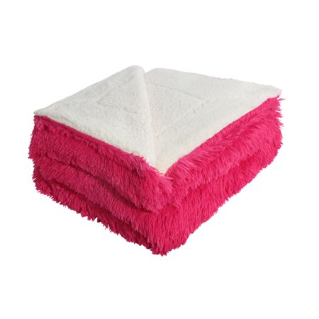 Shaggy Blanket Snuggly Fuzzy Faux Fur Warm Bed Blanket Fuchsia 200 x 230cm - image 1 de 1