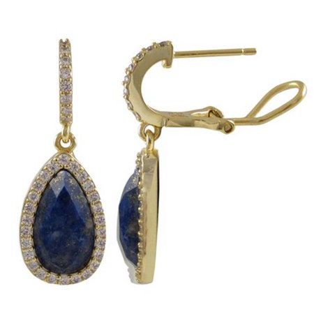 Dlux Jewels Lapis Semi Precious Faceted Teardrop Stone Cubic Zirconia Border with Gold Plated Sterling Silver Cubic Zirconia Post Clip Earrings - image 1 of 1