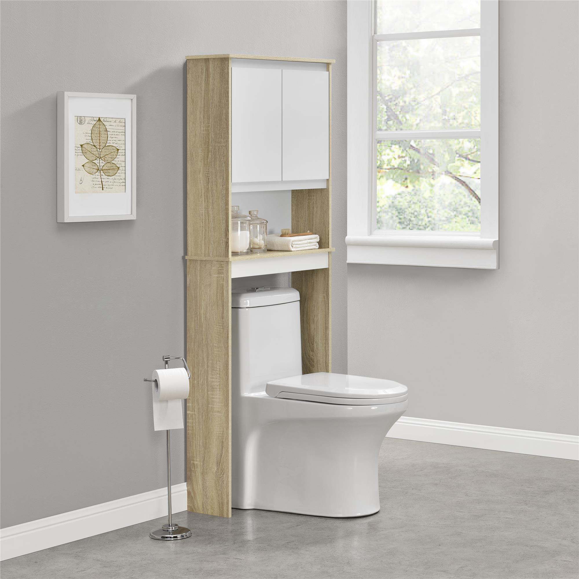 ameriwood home stafford over the toilet storage cabinet weathered rh walmart com  light oak over the toilet cabinet