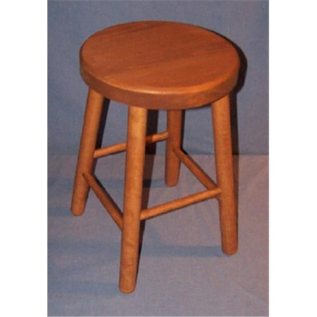 THE PUZZLE-MAN TOYS W-2470 Functional Wooden Furniture - Stool - Kitchen/Bar 4 Legged - 11 in. Dia. Seat & 17 in. Tall