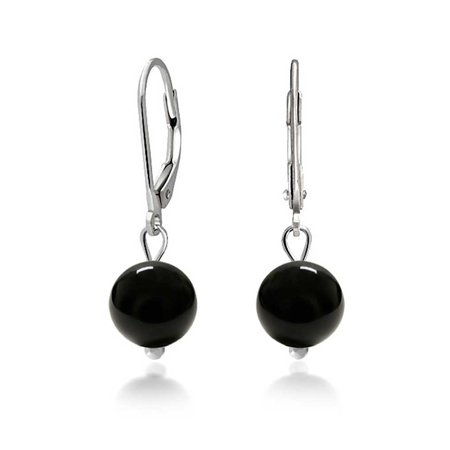 Simple Basic Round Onyx Bead Ball Dangle Leverback Earrings For Women Black 925 Sterling Silver