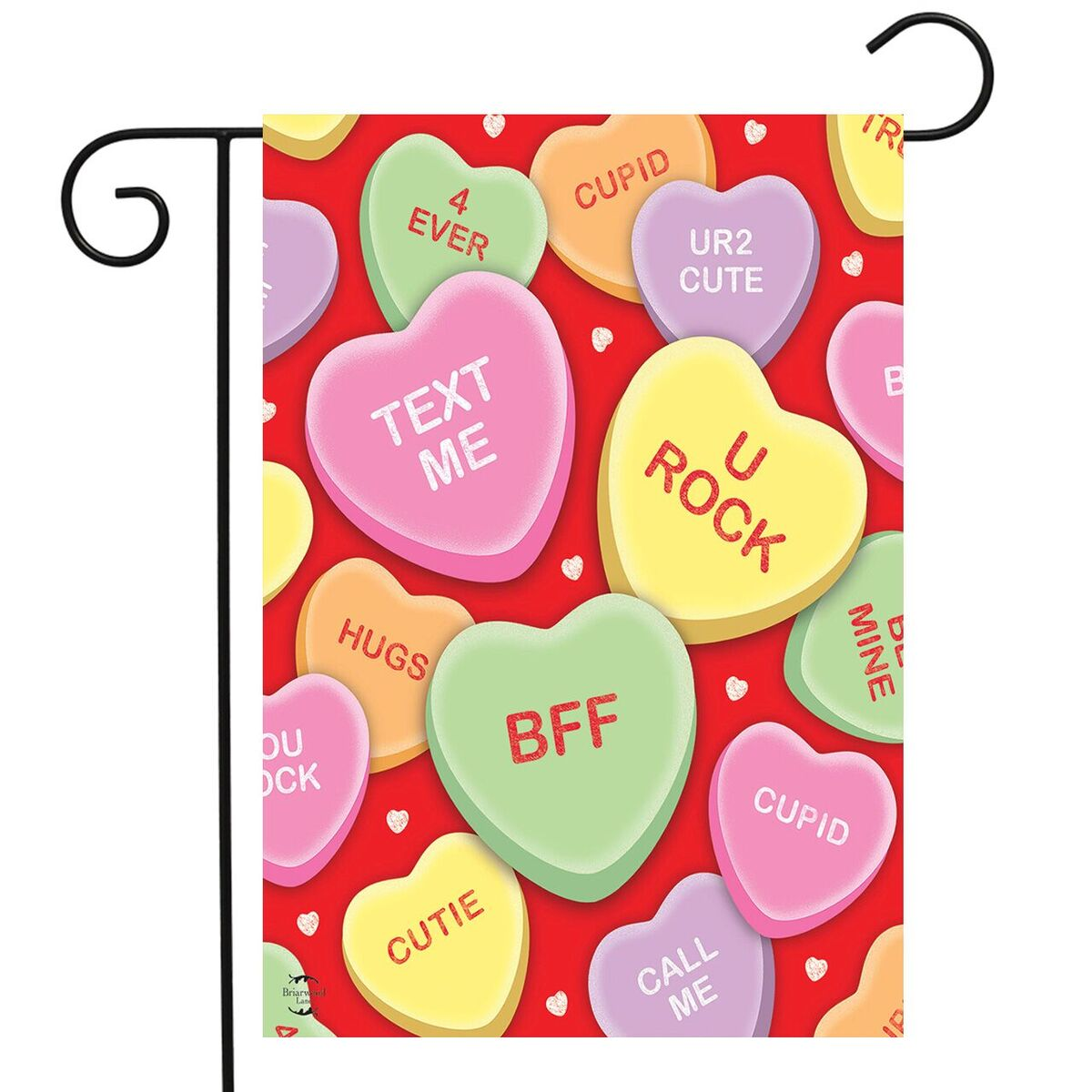 Candy Hearts Valentine S Day Garden Flag Love Phrases 12 5 X 18 Briarwood Lane Walmart Com Walmart Com