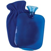 Carex Hot Water Bottle With Cover and Threaded Stopper, 2-quart Capacity, Blue