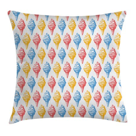 - Food Decor Throw Pillow Cushion Cover, Ice Cream Cones 50s Time Colored Drawings with Abstract Retro like Design Image, Decorative Square Accent Pillow Case, 16 X 16 Inches, Multicolor, by Ambesonne