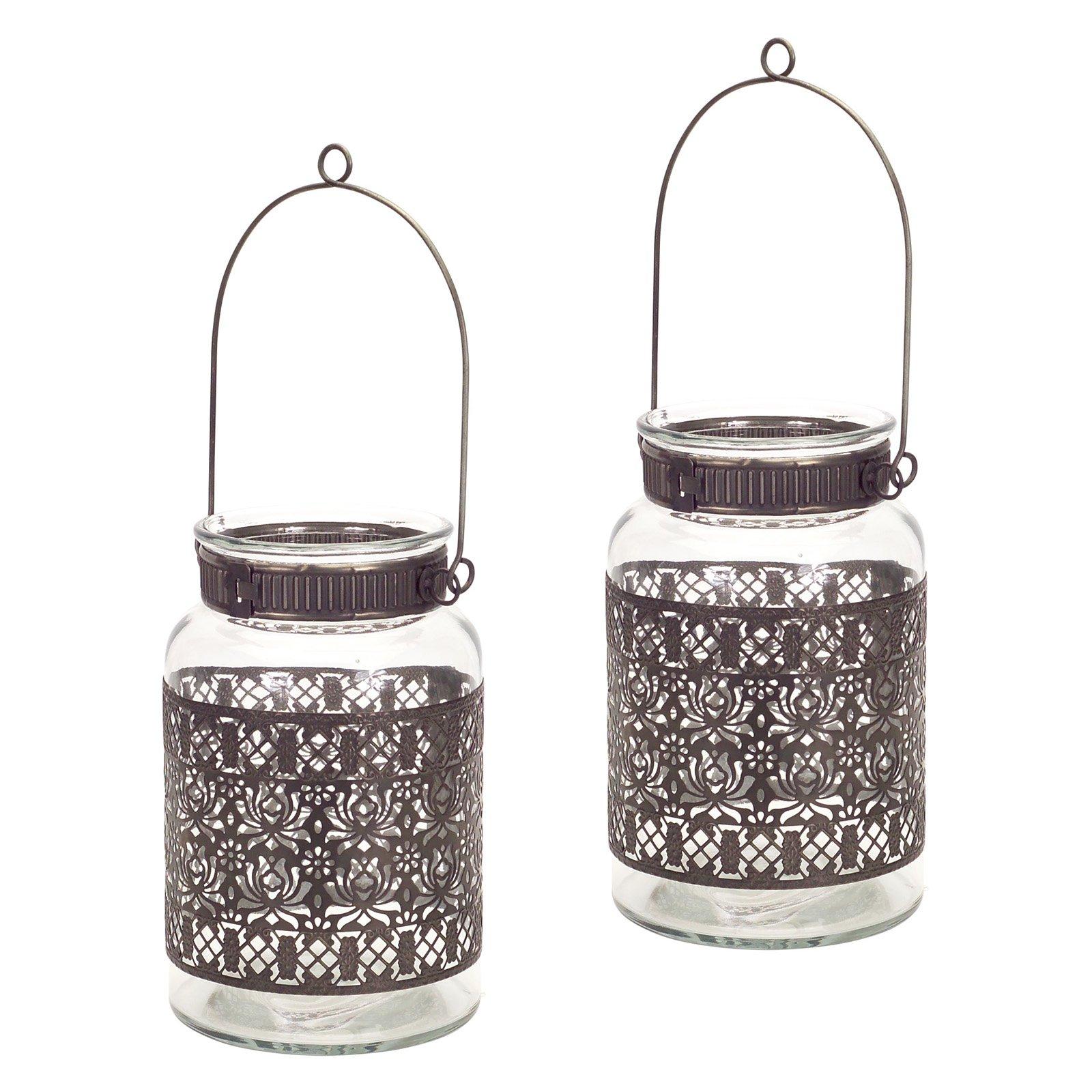 Melrose International Jar with Handle Candle Holder - Set of 2