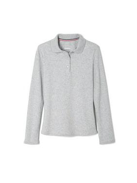 French Toast Girls School Uniform Long Sleeve Picot Collar Interlock Polo Shirt (Little Girls & Big Girls)