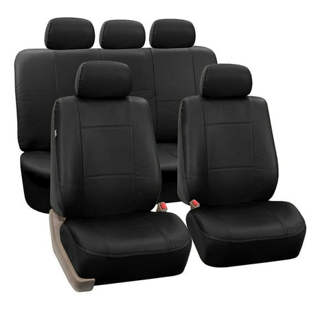 (FH Group Black Faux Leather Airbag Compatible and Split Bench Car Seat Covers, Full Set)