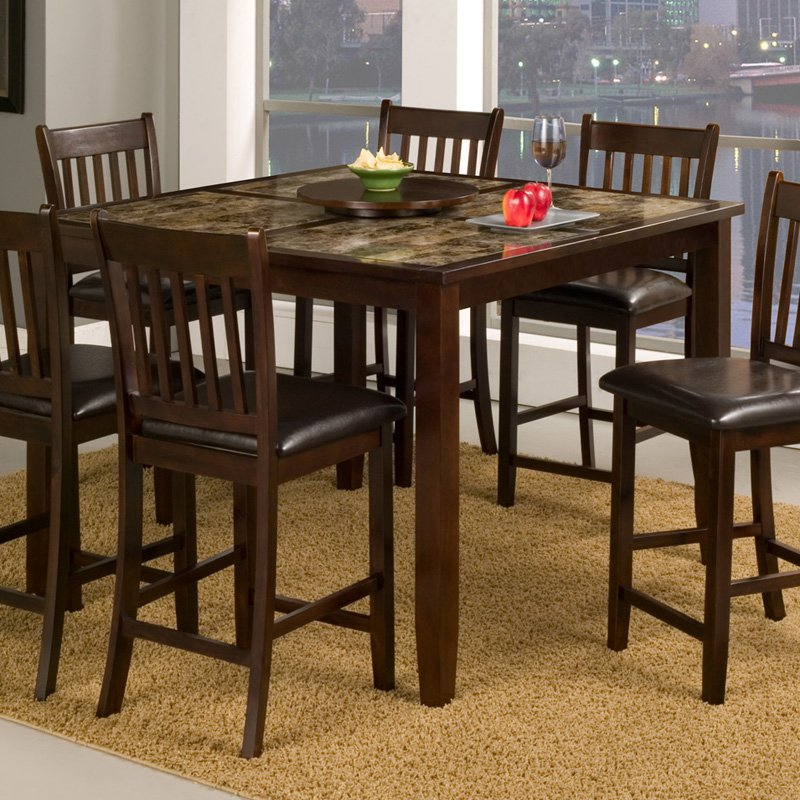 Alpine Furniture Capitola Faux Marble Large Counter Height Dining Table - Espresso