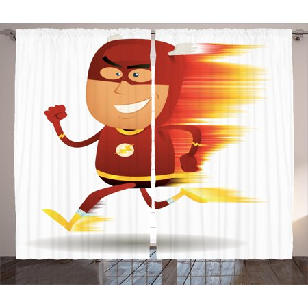 Superhero Curtains 2 Panels Set, Lightning Bolt Man with Cape and Mask Fast as Light Fun Cartoon Character Artprint, Window Drapes for Living Room Bedroom, 108W X 90L Inches, White Red, by Ambesonne