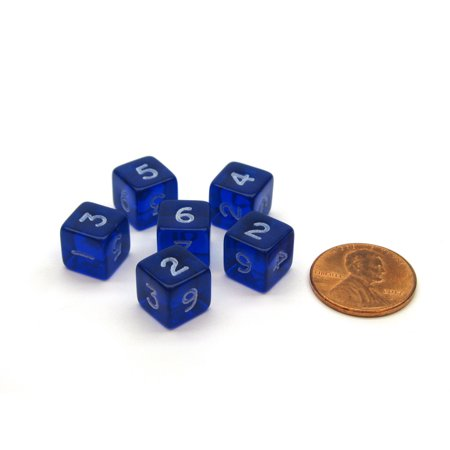 Translucent 9mm Mini 6 Sided D6 Chessex Dice, 6 Pieces - Blue with White Numbers
