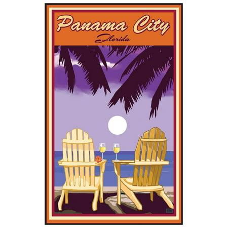 Panama City Florida Adirondack Chairs Palms White Wine Giclee Art Print Poster by Joanne Kollman (12