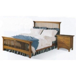 queen size mission style bed and night stand paper woodworking plan two plan - Mission Style Bed Frame