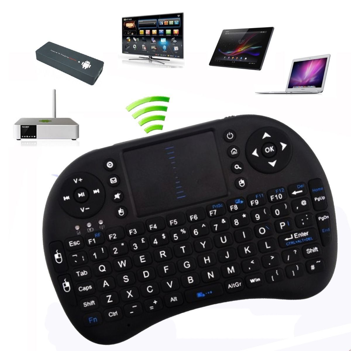 2.4G Wireless Mini Portable Gaming Keyboard Mouse Touchpad for PC, Tablet, Laptop, Android TV Box, Smart TV, Google TV Box, Xbox 360, PS3 & HTPC IPTV