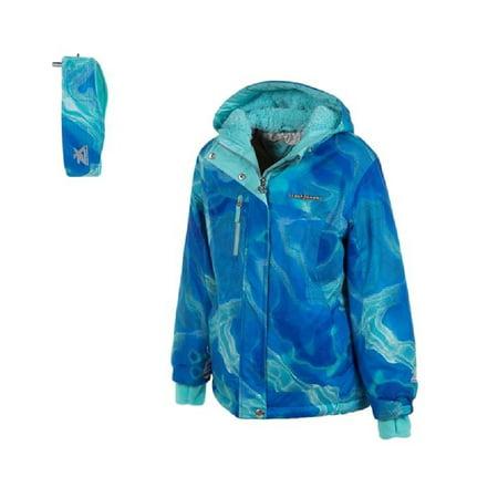 ZeroXposur Girls Size 5/6 Full Zip Hooded Jacket with Headband, Blue Sky