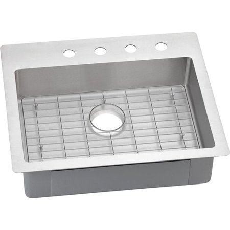 - Elkay ECTSRAD25226BG4 Crosstown Stainless Steel Single Bowl Dual-Mount Sink Kit with 4 Faucet Holes