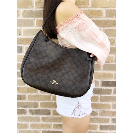 Coach F29209 Top Zip Shoulder Hobo Bag Brown Signature Black Leather Classic Top Zip Shoulder Bag