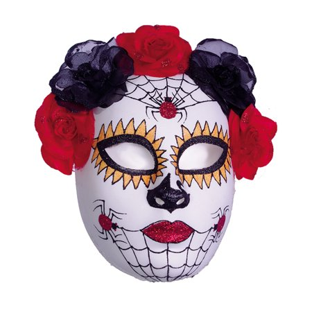 Red Black Orange Spider Full Womens Halloween Sugar Skull - Halloween Colors Orange And Black