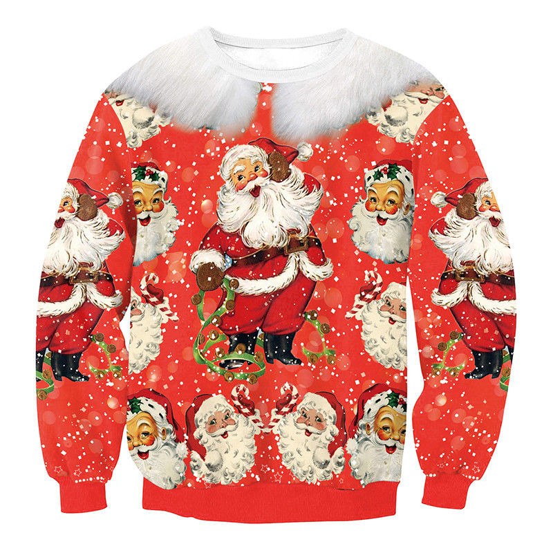 Super soft and warm ugly Christmas hoodies for women, Cuteness more color  style Xmas sweater for Juniors, Fahionable Chrismas printed crewneck long