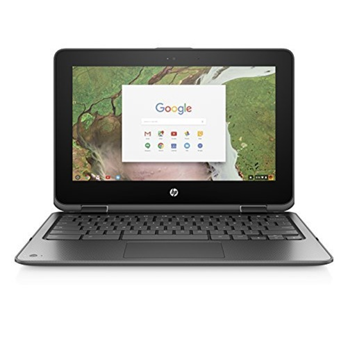 HP 11-AE010NR Smoke Gray 11.6 inch HD Touch Chromebook X360, Chrome/Arc++ OS, Celeron N3350 Processor, 4GB Memory, 16GB eMMC Storage, HD Audio