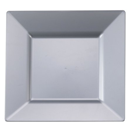 Plastic 9 1/2 Inch Silver Square Dinner Plate/Case of 120](Silver Plastic Dinner Plates)